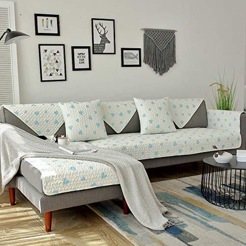 YUTJK Cotton Printed Corner Sofa Slipcover,Living Room Fabric Sofa Seat Covers,Furniture Protector Cover,Cubierta de sofá de impresión de Tela de Sala de Estar-Azul 2_110×160cm