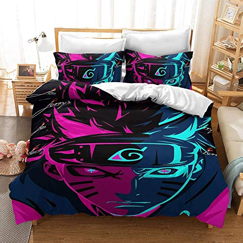 DDQQ Anime Bedding Set 3D Printed Twin Size Japan Anime Bed Set 3Pcs Lovely Soft/Breathable Comforter Cover (No Comforter)