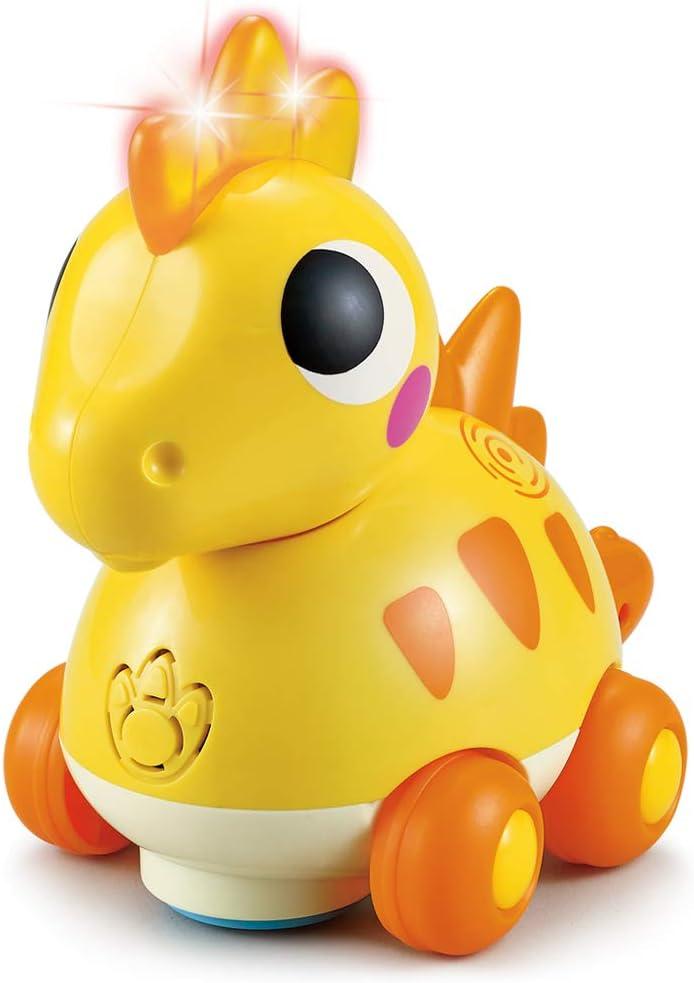 TINOTEEN Baby Musical Toys Dinosaur Push & Go Baby Crawling Flashing Toddler Baby Toy for 1 2 3 Year Old Boys Girls