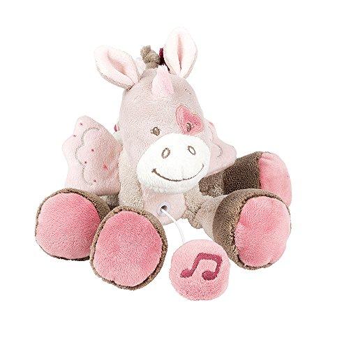 Nattou Mini Peluche Musicale Licorne Jade, Nina, Jade et Lili, 24 x 14 x 7 cm, Beige/Rose