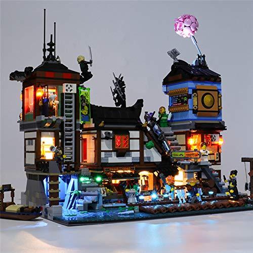 Kit de iluminación para Lego 70657, juego de luces LED alimentadas por USB compatible con Ninjago City Docks Bloques de construcción Modelo de juguetes de ensamblaje para niños (no incluido el modelo)