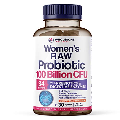 Dr. Formulated Raw Probiotics for Women 100 Billion CFU with Prebiotics, Digestive Enzymes, UT Protection, Dr. Approved Women's Probiotic for Adults, Shelf Stable Probiotic Supplement, 30 Capsules