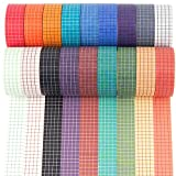 Colored Grid Washi Tape Set - 27 Rolls of 15 mm Wide Writable Paper Masking Tapes for Adhesive School/Party Supplies, Bullet Journal, DIY Decor Planners Scrapbooking