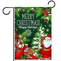 ガーデンフラグウェルカムバナーフラグヤードガーデン屋外装飾オールシーズンの垂直両面アートフラグ メリークリスマスの願いと幸せな休日のご挨拶