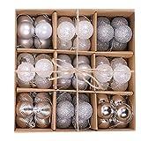 Kaishuai 54PCS Bolas Navidad,Árbol de Navidad Adorno,3cm Colgante de árbol de navidad,bambalinas de hotel,Fiesta Hogar Baubles Regalo de plástico
