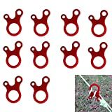 WESTONETEK Pack of 10 Aluminum Guyline Wind Rope Buckle Cord Adjuster for Tent Camping Hiking Backpacking Outdoor Activity, Red
