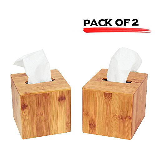 JackCubeDesign Bamboo Square Tissue Box Cover Holder Case Cover Holder Box Napkin Holder Organizer Stand(Set of 2, 5.67 x 5.67 x 5.67inches)-:MK273AA