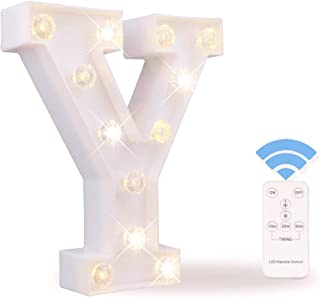 Obrecis White Light Up Marquee LED Letter Sign with Remote Timer Dimmable for Party Wedding Decor, Alphabet Wall Decoration Letter Lights, Letter Y