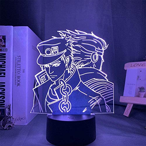 JoJo's Bizarre Adventure 3D Night Light – Lámpara de ilusión LED 3D, interruptor táctil de 16 colores de cambio, regalo perfecto para cumpleaños, Navidad, para bebés, adolescentes, amigos