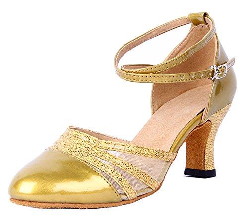 Honeystore Damen's Knöchelriemen Schnalle Lackleder Tanzschuhe Gold 3.5 UK