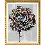 EUpMB Kits de pintura de diamantes para bricolaje,Cross-Stitch Kit Diamond Painting, bordado completo de diamantes artesanales,(Rosas de colores 25x30cm)