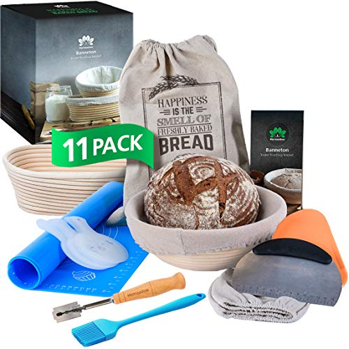HOMEADOW Banneton Bread Proofing Basket - A Great Gift - 11 Pcs Kit: 10' Oval + 9' Round Brotform, Liner, Bread Lame, Bench Scraper, Dough Scraper, Stencils, Baking Mat, Bread Bag, Brush   Sourdough