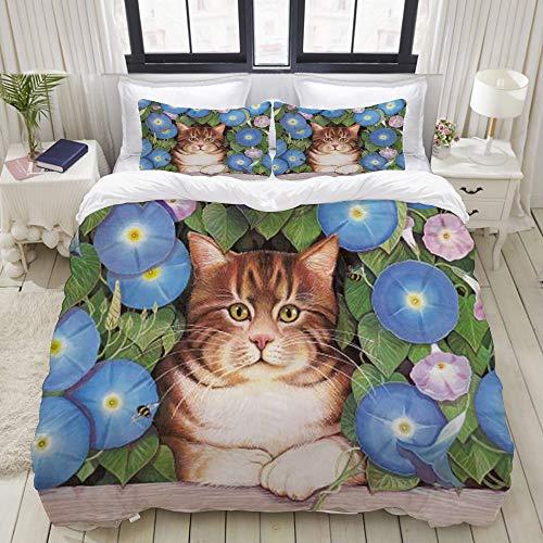 Juego de cama, microfibra, Lindo gato pintura al óleo mascota animal gatito gato en valla de madera con planta de jardín hojas v,1 juego de funda nórdica 135 x 200 cm+2 fundas de almohada 50x80cm