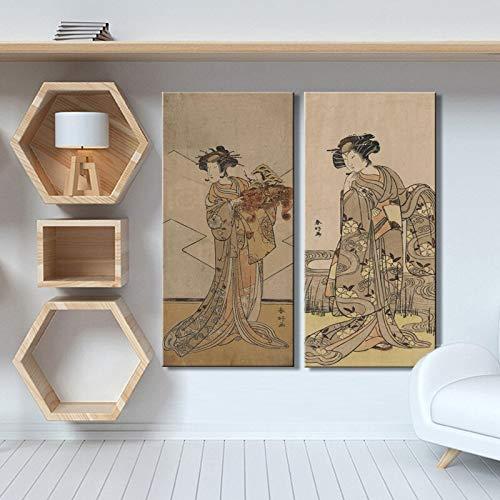 Geiqianjiumai Cartel de Mujer Japonesa Ukiyo-e e impresión en Lienzo Arte decoración de la Sala Pintura Pintura sin Marco B60x120cm 2PCS