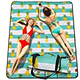 RWWXII Large Outdoor Picnic Blanket Waterproof 79'x59' Beach Blanket Sandproof Folding, Washable & Lightweight Picnic Mat for Travelling, Hiking and Champing (Pineapple)