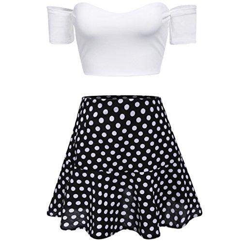CRAVOG Damen Tops+Minirock Sexy Schulterfrei crop Tops Bodycon polka dot Kleid 2pcs Set