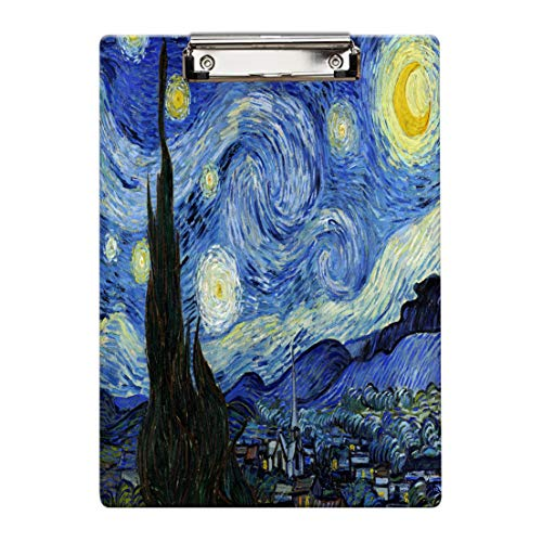 Britimes Clipboard Decorative Office School Hardboard Wood Nursing Clip Board and Pull for Standard A4 Letter Size Van Gogh Abstract 12.5' X 8.5'