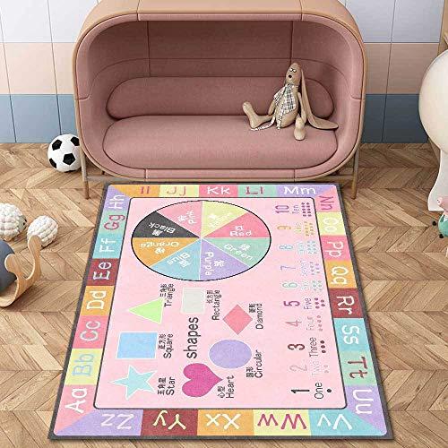 Teppich Modern Designer Teppiche Puzzle Lernen Macaron Pink Schlafzimmer Zimmer Teppich Sofa Tisch Kind Krabbeln Matte 80x120CM (2ft7 x3ft11)