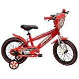 Disney - Vélo Enfant garçon Cars Flash McQueen - 14 Pouces (3/5 Ans) - Coloris Rouge - (Distributeur Officiel)