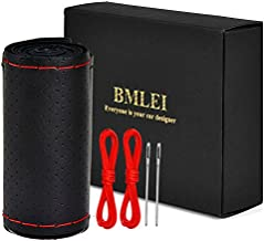 BMLEI Universal Car Steering Wheel Cover with Top Genuine Leather, Anti-Slip Design and Soft Padding, Stitching Style (Black Leather with red Thread)