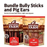 Natural Farm Bully Sticks Bundle -6 inch Bully Stick (25 Pack) + Pig Ears (8 Pack) -Made & Packaged at Our Own Food-Grade Facility - Fully Digestible High Protein