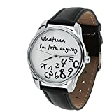 Whatever, I'm Late Anyway Watch,The Original ZIZ Black-White Unisex Wrist Watch, Funny Wrist Watch, Every Watch Comes in A Beautiful Gift Box and with an Additional Band