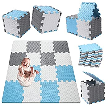 Tamiplay 16Pcs Foam Baby Play Mat 0.47 Inch Thickened Interlocking Foam Puzzle Tile Exercise Mats Floor Mats Foam Play Mats Jigsaw Mat Baby Child Rug Crawl Mat with Storage Bag White/Gray/Baby Blue