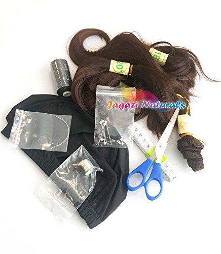 Une simple kit de perruque complet. Série Noir/marron. extension de cheveux ondulés. Dome Cap. Aiguille. Kaycee Lot. Dé à Coudre. Aiguille courbée. Filetage. Perruque Accessoires