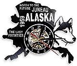 Reloj De Pared The Last Frontier Alaska Decor USA Cityscape Vinyl Record Clock North To The Future Juneau Modern Vintage Gift Alaska Dog Decor Silent Clock