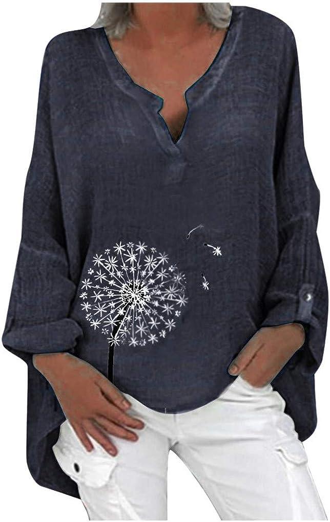 Dorical Leinenbluse für Damen,Langarm Drucken Oberteil Casual V-Ausschnitt Tops Tunika T-Shirt Lose Baumwolle Große Größen Leinenhemd Bluse Jacquard Oberseiten 06 Marine