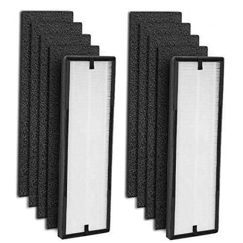 isinlive 2-Pack NEA-F1 True HEPA Filter & 8-Pack NEA-C1 Activated Carbon Replacement Filter Compatible for Eureka NEA120 Air Purifier and Toshiba Air Purifier