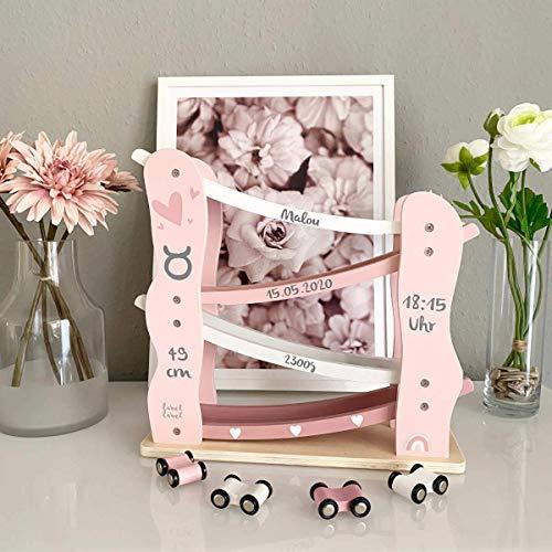 Personalisierte Kugelbahn rosa, personalisierbar mit Geburtsdaten, personalisiertes Baby Holzspielzeug, Geschenk zur Geburt, Weihnachtsgeschenk Baby