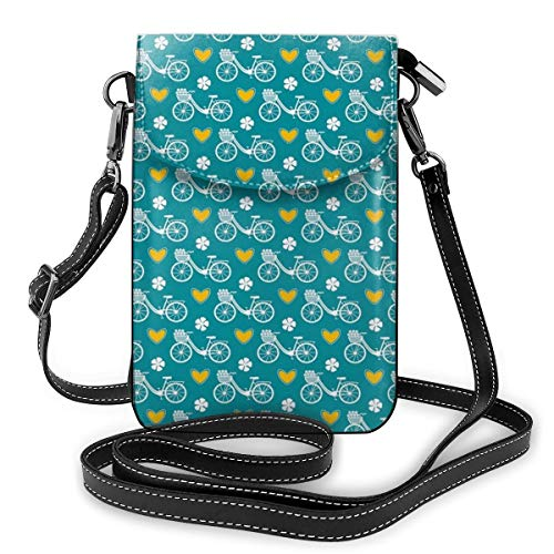 Jiger Women Small Cell Phone Purse Crossbody,Silhouettes Of City Bike With Flowers In Basket Among Four-Leaf Clover Heart Shapes