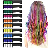 XIMU Hair Chalk Comb 10 Colors Temporary Washable Colourful Hair Chalks for Kids