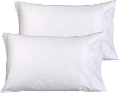 MARQUESS Pillowcase Queen Size, Set of 2 Pillow Cases, 50% Cotton 50% Microfiber Pillowcases Ultra Soft and Premium Quality (White, Queen)