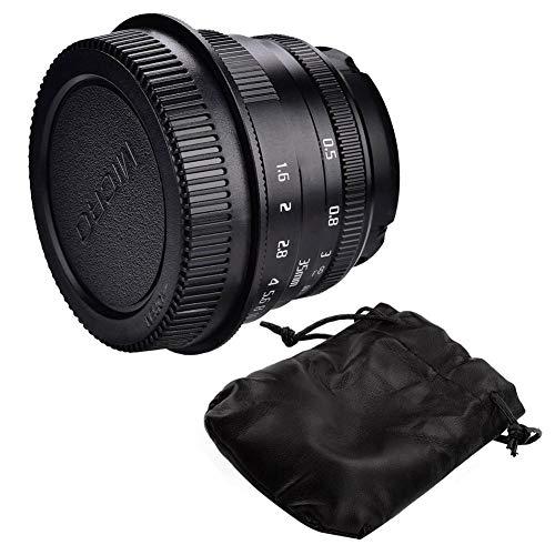 Lente de cámara Lente 35mm F1.6 Lente para Fujifilm para Canon Cámara sin Espejo Lente de Gran Apertura Focal Fija Manual en Vidrio óptico(UNA)