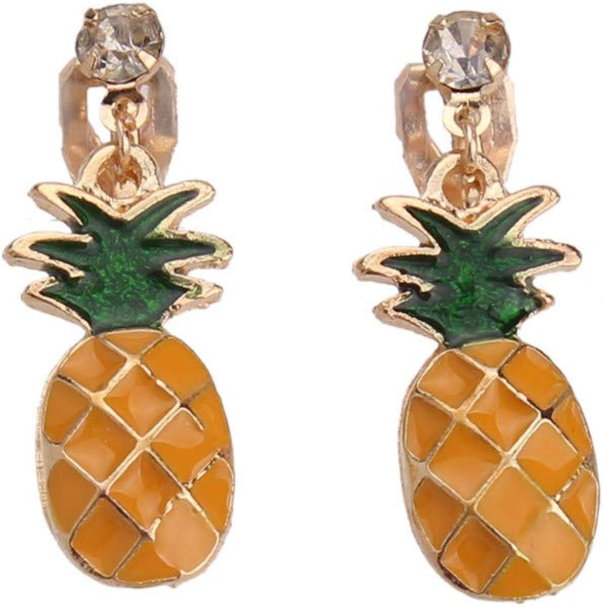 HAPPYAN Cute Enamel Fruit Omelette Umbrella Clip on Earrings Without Pierced Popular Small Earrings Anti-allergy