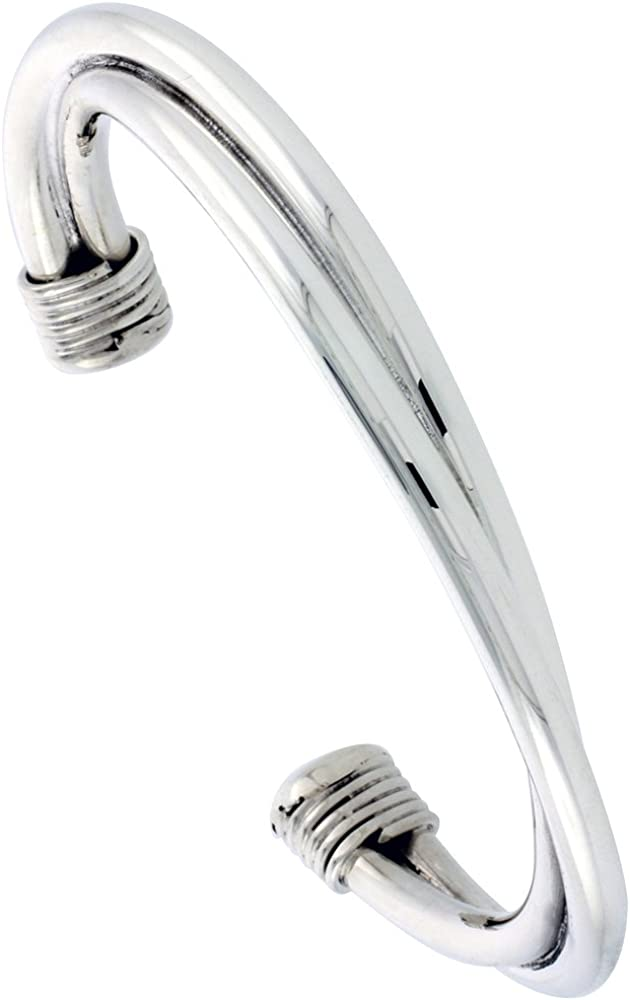 Sterling Regular store Silver Twisted Tube Cuff Bracelet 5 Wrapped Wire Ends SEAL limited product 1