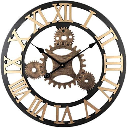WTL reloj de pared reloj de pared de maquinaria industrial viento retro reloj ahuecado hacia fuera sala de estar decoración de tienda mute mesa creativa (tamaño: 28 pulgadas)