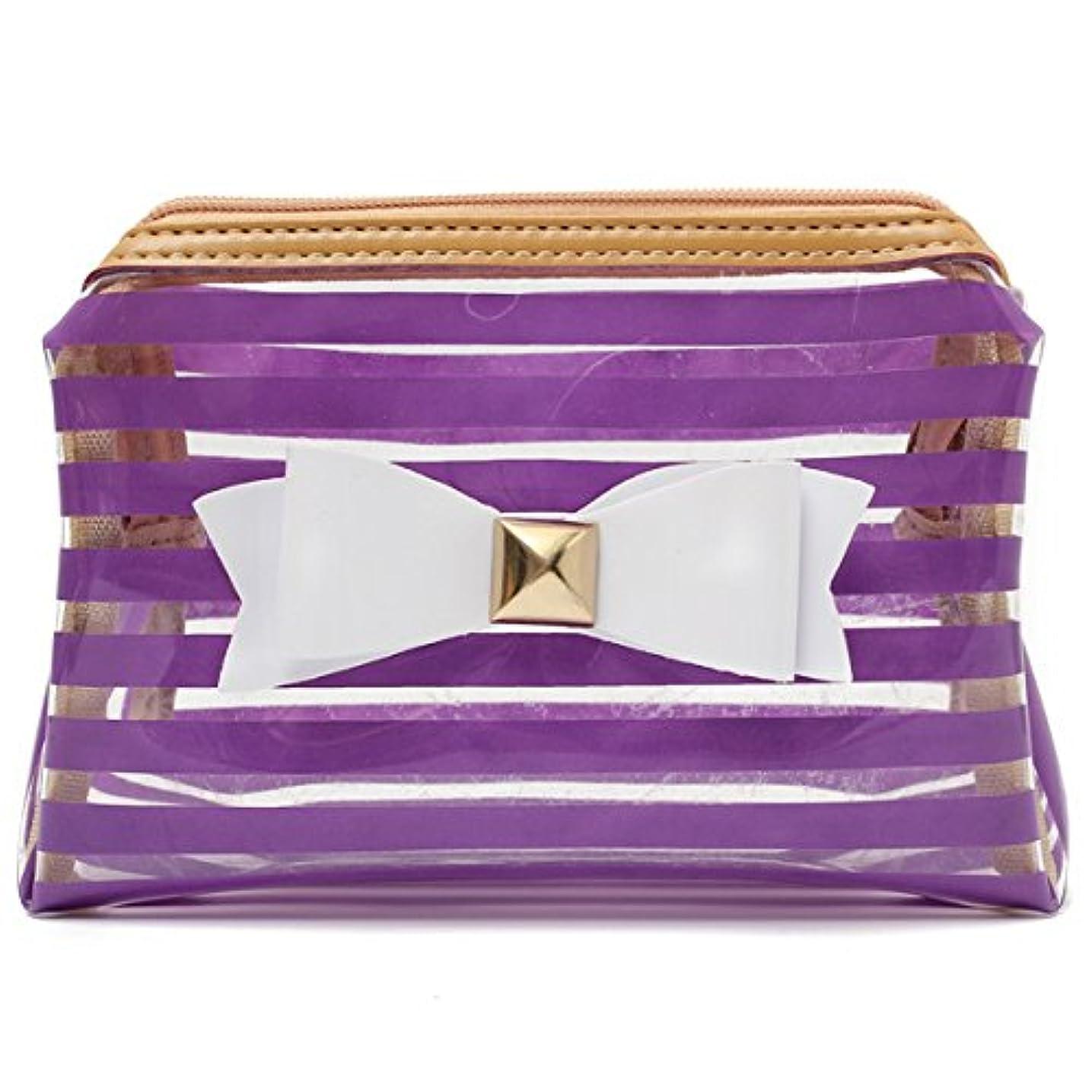 ナインへビバ些細YZUEYT ストライプ透明な化粧品のバッグ旅行PVCボウタイはオーガナイザーケースを作る YZUEYT (Color : Color Purple Hippo)