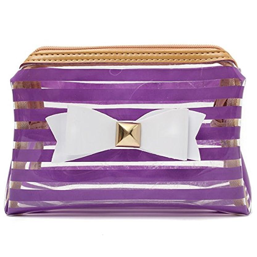 ヤギガイダンスクレーンYZUEYT ストライプ透明な化粧品のバッグ旅行PVCボウタイはオーガナイザーケースを作る YZUEYT (Color : Color Purple Hippo)