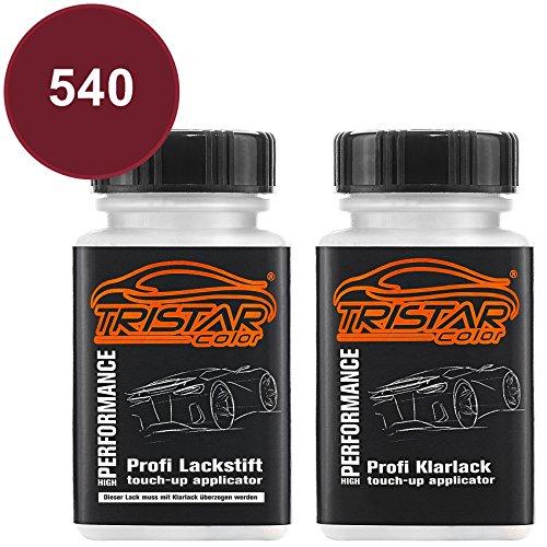 TRISTARcolor Autolack Lackstift Set für Mercedes/Daimler Benz 540 Barolorot Basislack Klarlack je 50ml