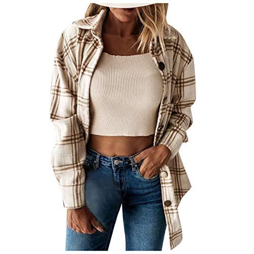 Zldhxyf Camisa a cuadros de manga larga para mujer, chaqueta de leñador de gran tamaño, blusa de estilo urbano, camisa de tiempo libre retro a cuadros, caqui, S