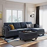 HONBAY Convertible Sectional Sofa Couch Set L-Shape Sofa Couch Set 4 Seat Sofa Sectional with Storage Ottoman for Living Room,Bluish Grey (Sectional+Tray Ottoman)