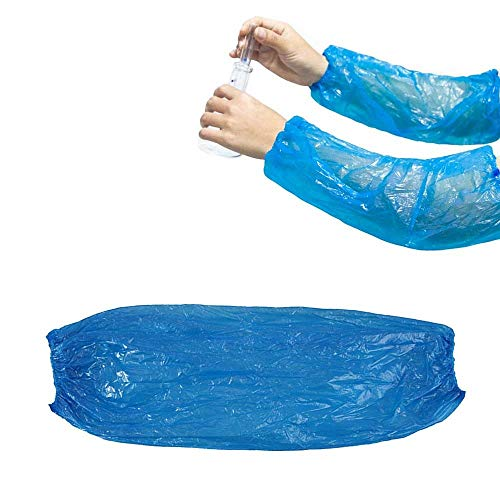 AOLVO Einweg-Arm-Ärmel, Polypropylen, 38 cm Länge, PE-Arm-Bezüge, elastisch, wasserabweisend, für Malerei, Reparatur, Reinigung, Tattoo, Männer, Frauen blau