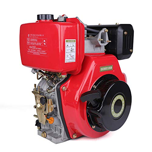 HYYKJ Diesel Engine 4 Stroke 9HP 406CC Air-Cooled Single Cylinder Machinery Recoil Starting System 72.2mm Shaft Length 3600rpm 186F