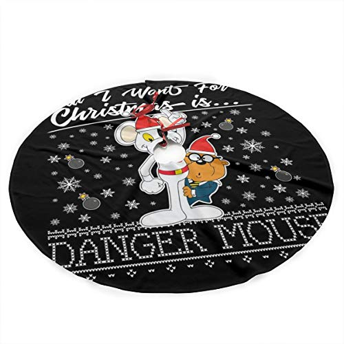 All I Want for Christmas is Danger Mouse Plush Fabric Christmas Tree Skirt 36 Inch Holiday Home Decor ,Soft, Light and Good to Touch