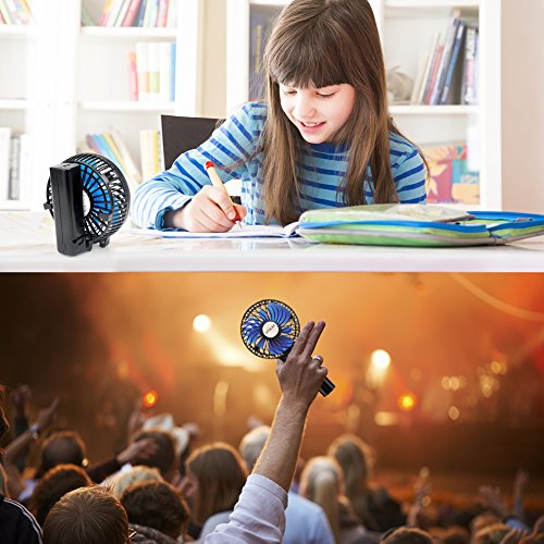 OPOLAR Small Handheld Battery Operated Face Fan with 2 Batteries, Portable & Rechargeable, Folding Design, Strong Airflow, 3 Setting, Ideal for Disney & Travel & Dry Eyelash