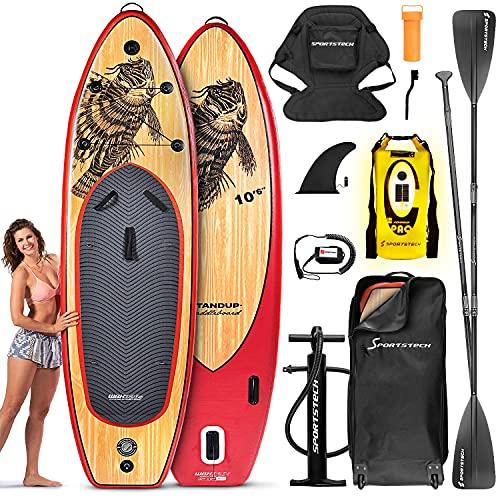Sportstech 8en1 Set Tabla de Paddle Surf Hinchable + Asiento Kayak y Bolsa Impermeable LED + Altavoz | Standup Paddleboard + Bomba de Aire y Remo de Fibra de Vidrio | Tabla de Surf de Remo | WBXs