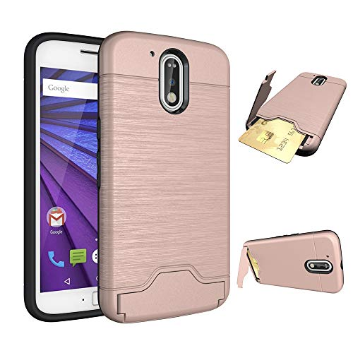 Phone Case for Motorola MotoG4 / Moto G4 Plus Slim Hard Wallet Cover Rubber with Credit Card Holder Stand Kickstand Cell Accessories G 4th Gen Generation G 4 4plus G4plus 4G G4+ Cases Girls Rose Gold